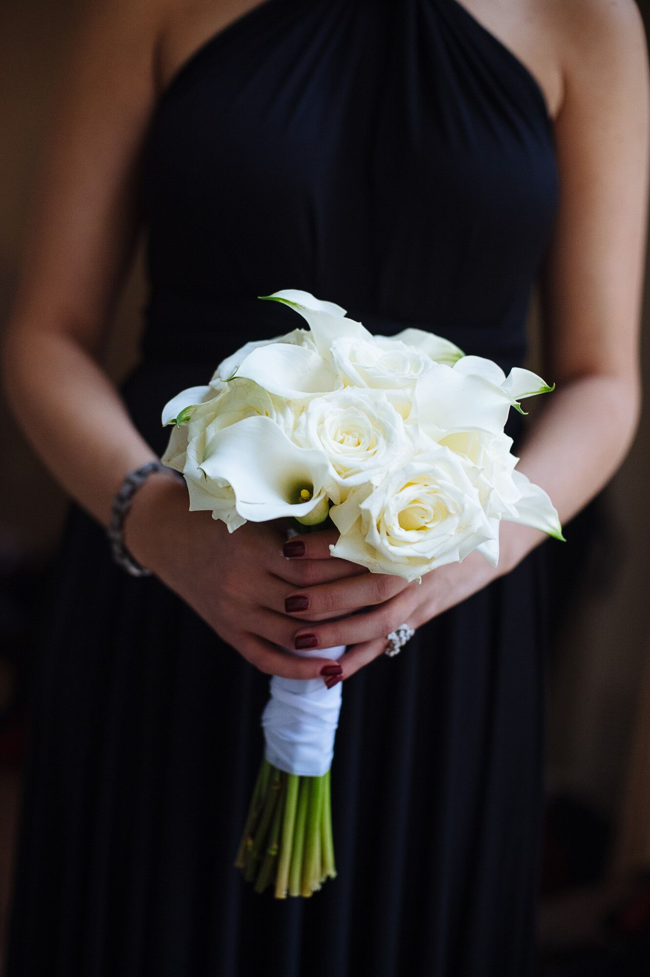 All White Calla Lily And Rose Bouquet