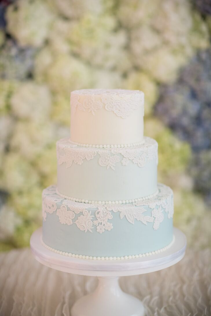 Blue Ombre, Lace-Detailed Wedding Cake