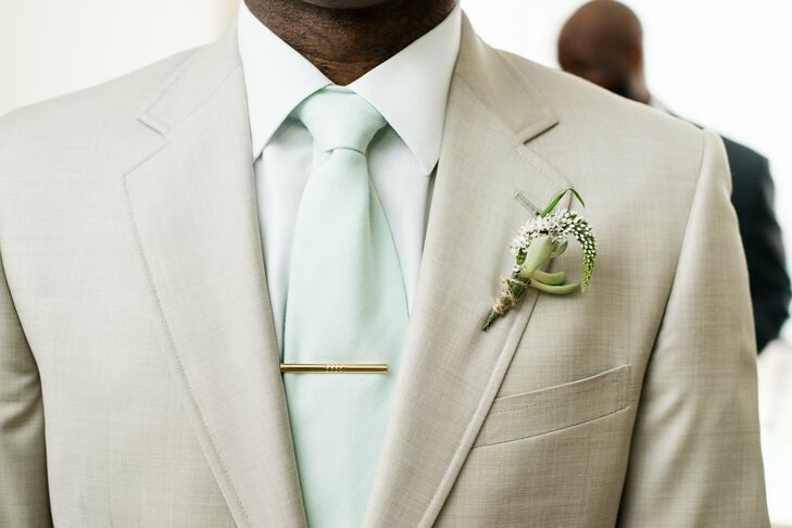 khaki and mint groom�s look