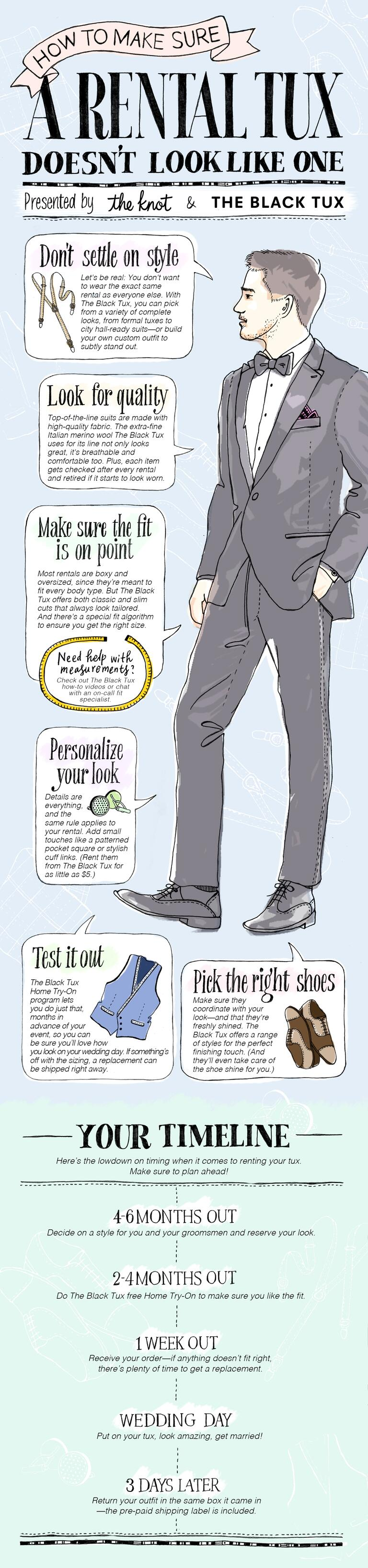Infographic featuring a guy in a tux with tips for looking great