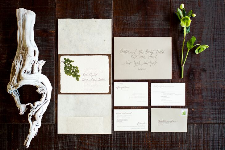 "Tiny Pine Press incorporated Faith and Brent's natural design aesthetic into their neutral wedding stationery. ""They had great recommendations and were so helpful with everything, from the words used to the layout and color palette,"" Faith says."
