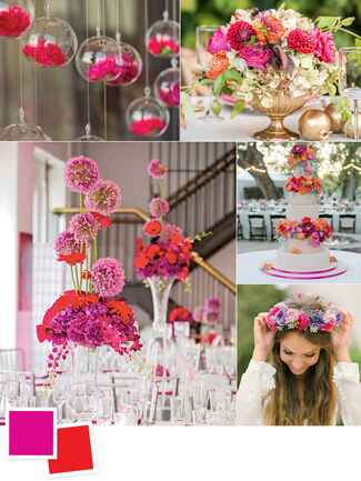 Festive flower arrangements with a fuschia and red color combo