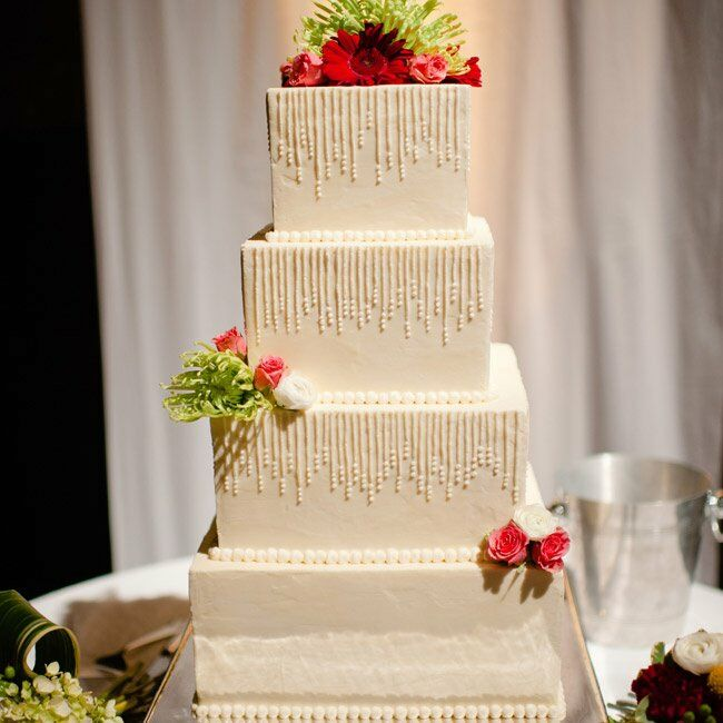 white square wedding cakes with flowers textured white square cake 27326
