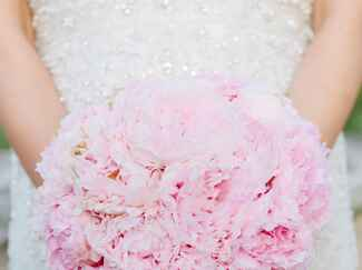 Single flower pink peony bridal bouquet
