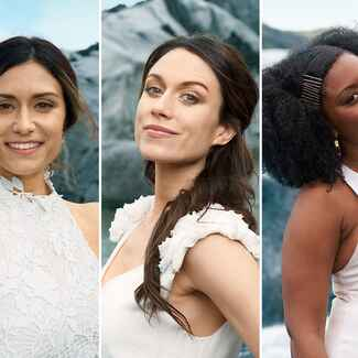 brides-to-be on an iceland glacier for olay