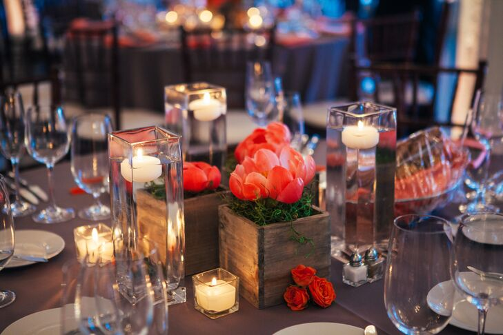 Pink peony and floating candle centerpieces