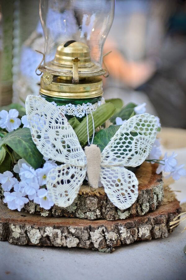 Burlap and Lace Butterfly Centerpiece