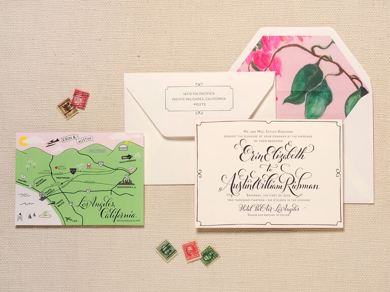 Vintage Fl Wedding Invitation