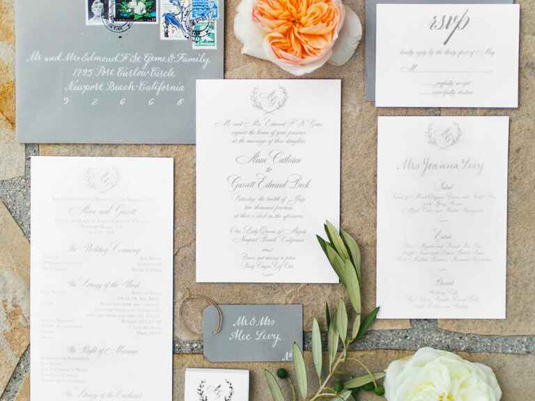 Calligraphy garland wedding invitation suite