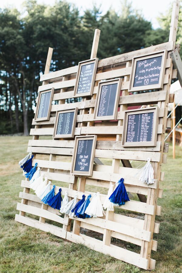Chalkboard and Tassel on Pallet Board Escort Card Display