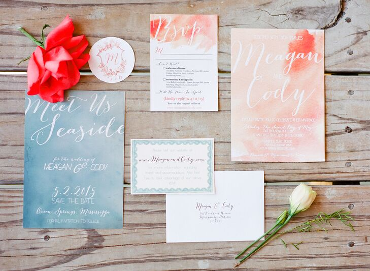 Pale Pink and Blue BeachThemed Watercolor Invites