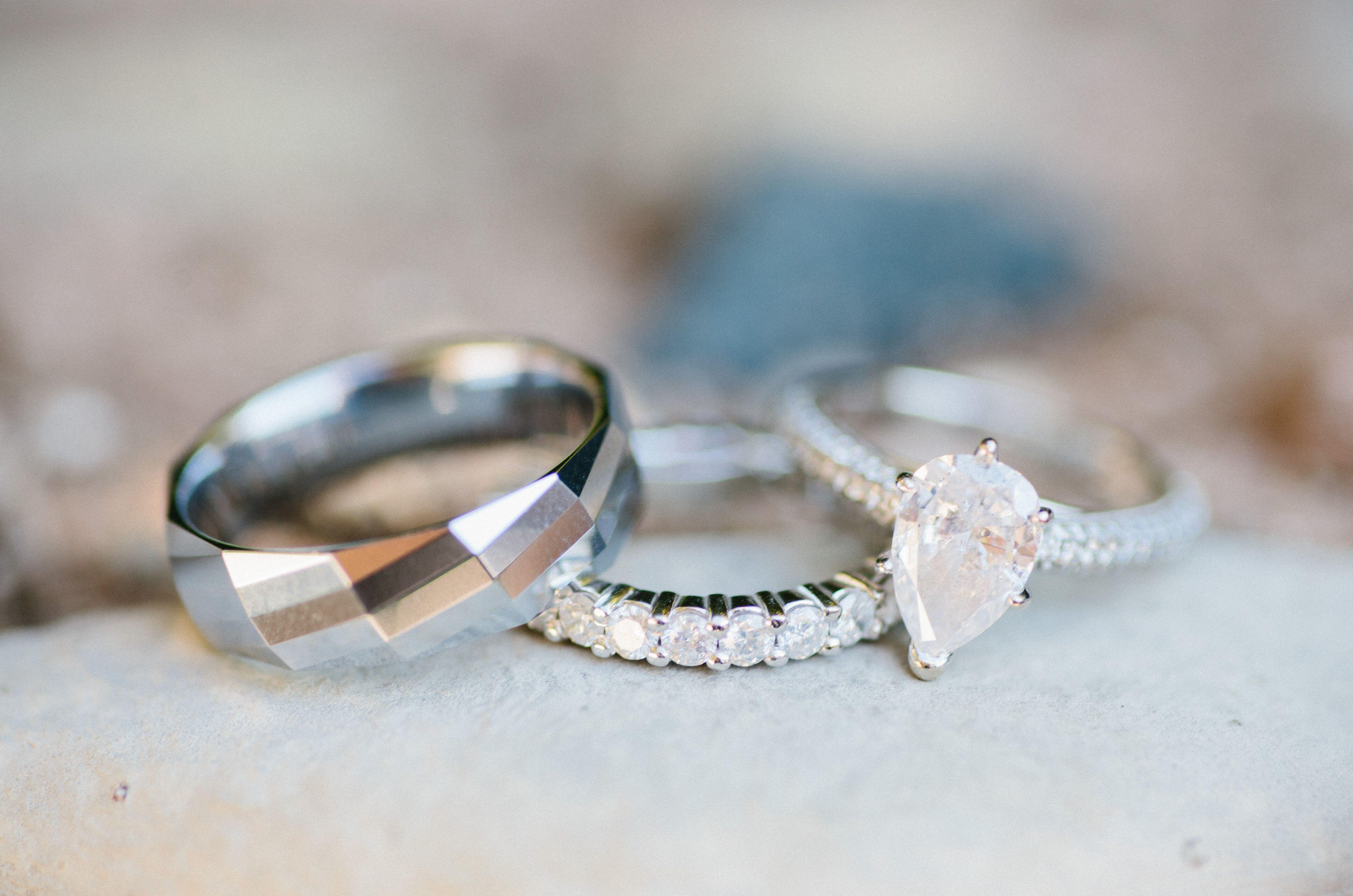 Modern Geometric Wedding Band And Pear Cut Diamond Engagement Ring