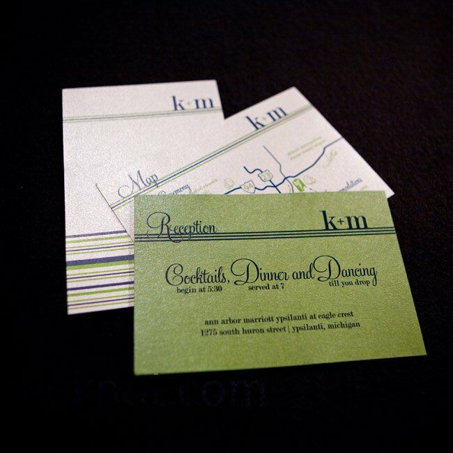 Navy And Green Invitations