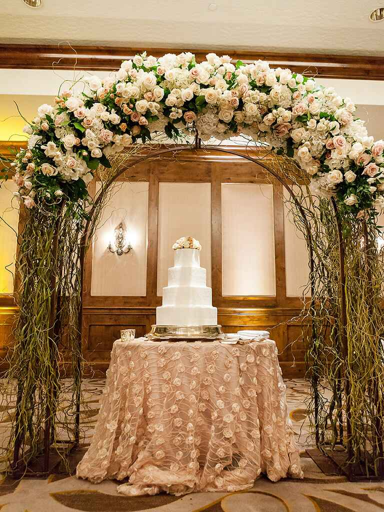 Repurpose the wedding arch after the ceremony to create a stunning cake display