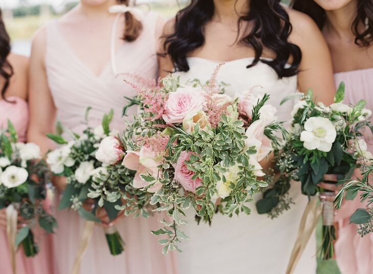 "Joyce carried a bouquet of blush cream peonies, blush garden roses, blush amaryllis, pink lavender and variegated boxwood wrapped with a cream ribbon. ""I wanted all the flowers to have movement -light and airy in form,"" says Joyce."