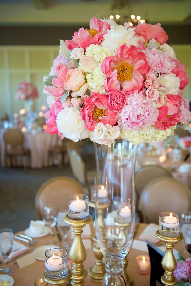 Tall Lush Pink Peony Centerpieces