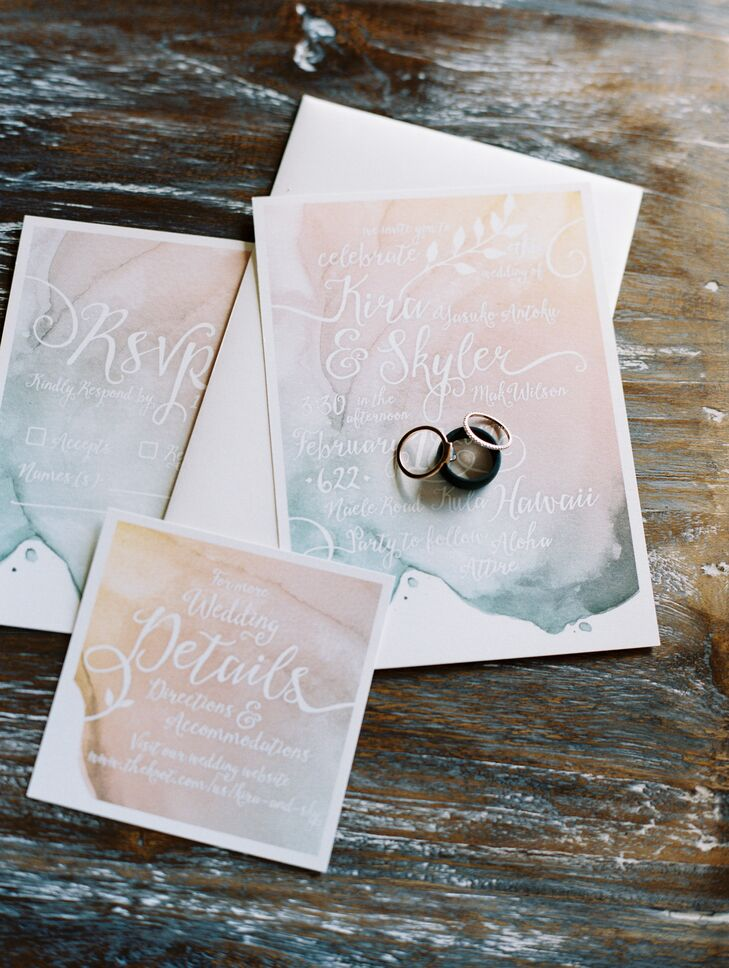 Watercolor Themed Invitation Suite