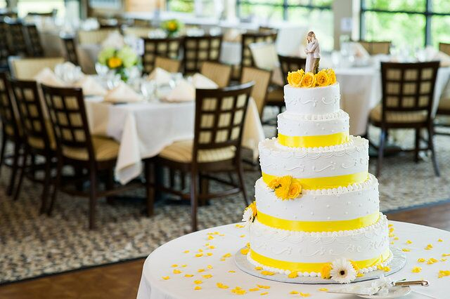 White and Yellow Five Tier Cake