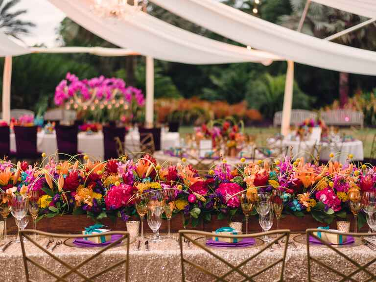 Colorful tented wedding reception decor