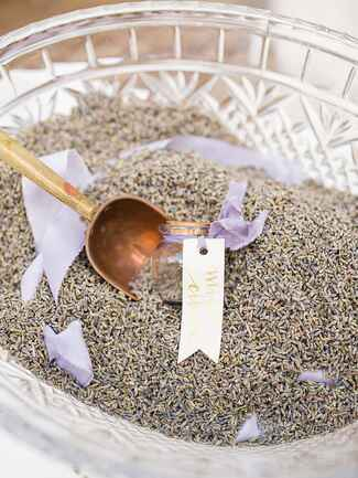Wedding exit toss with lavender seeds