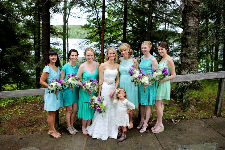 Assorted Teal Bridesmaids Dresses
