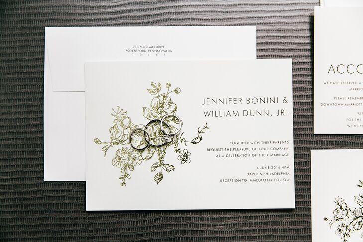 Jen and Billy's classic invitations, featuring a simple floral pattern outlined in gold, set the tone for an elegant evening celebration at Davio's Northern Italian Steakhouse in Philadelphia, Pennsylvania.