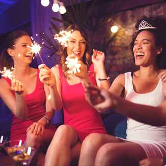bachelorette party women with sparklers