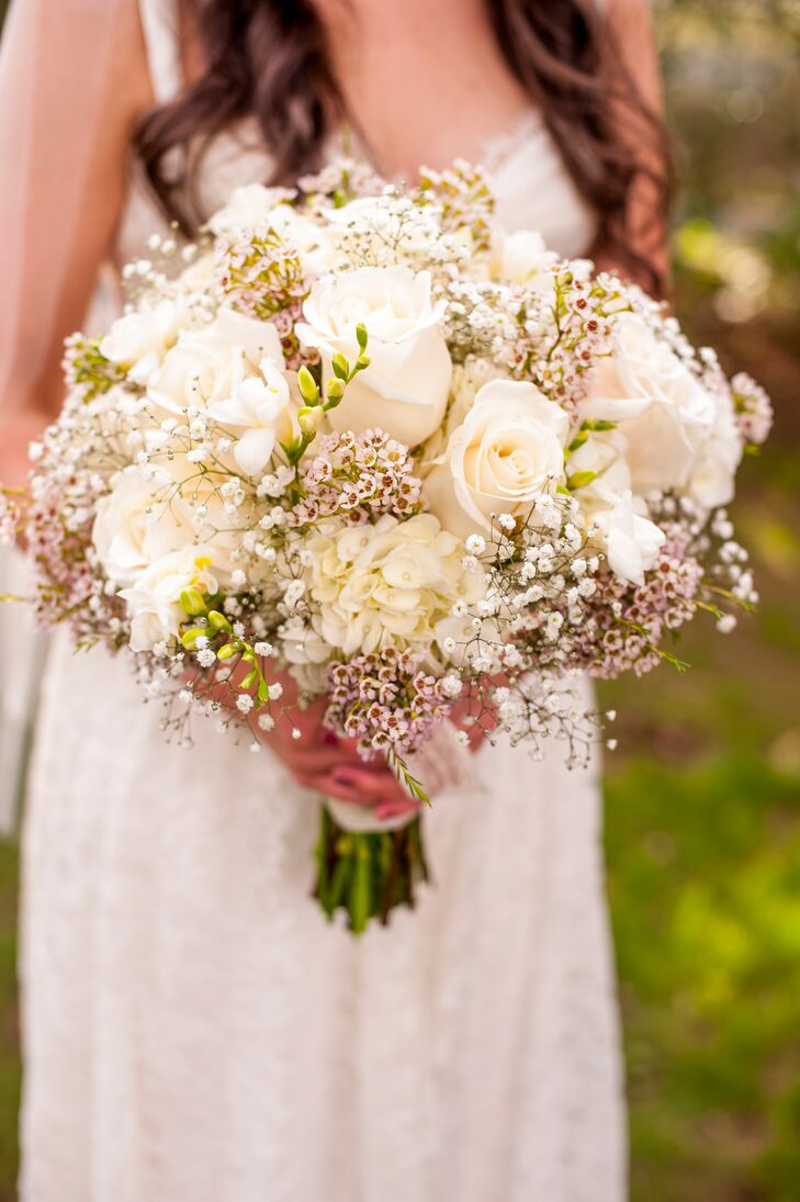 Ivory Bridal Bouquet Of Roses And Wax Flowers