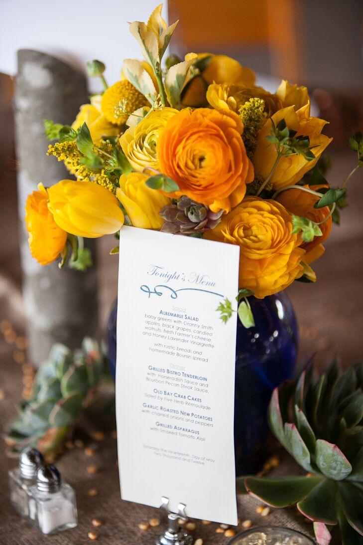Yellow Flower Arrangements In Blue Vases With Menus