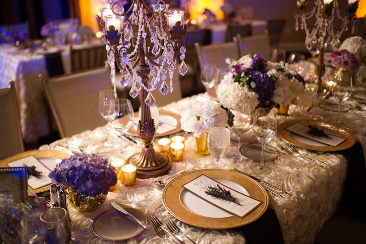 Centerpieces Of Hydrangeas In Gold Vases And Candelabras With Crystals