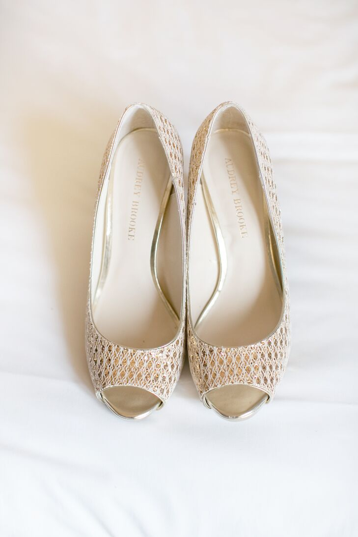 Metallic Gold Peep-Toe Wedding Heels