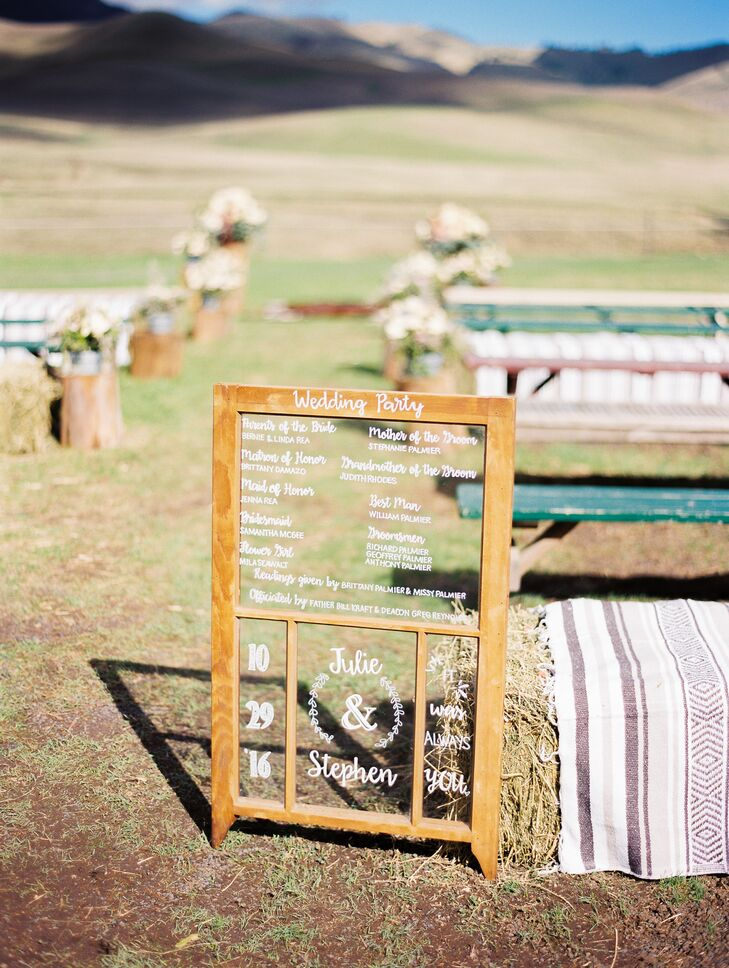 Julie's sister helped craft the day's signs using old wooden palettes. Guests sat on benches and hay bales covered with falsa blankets.