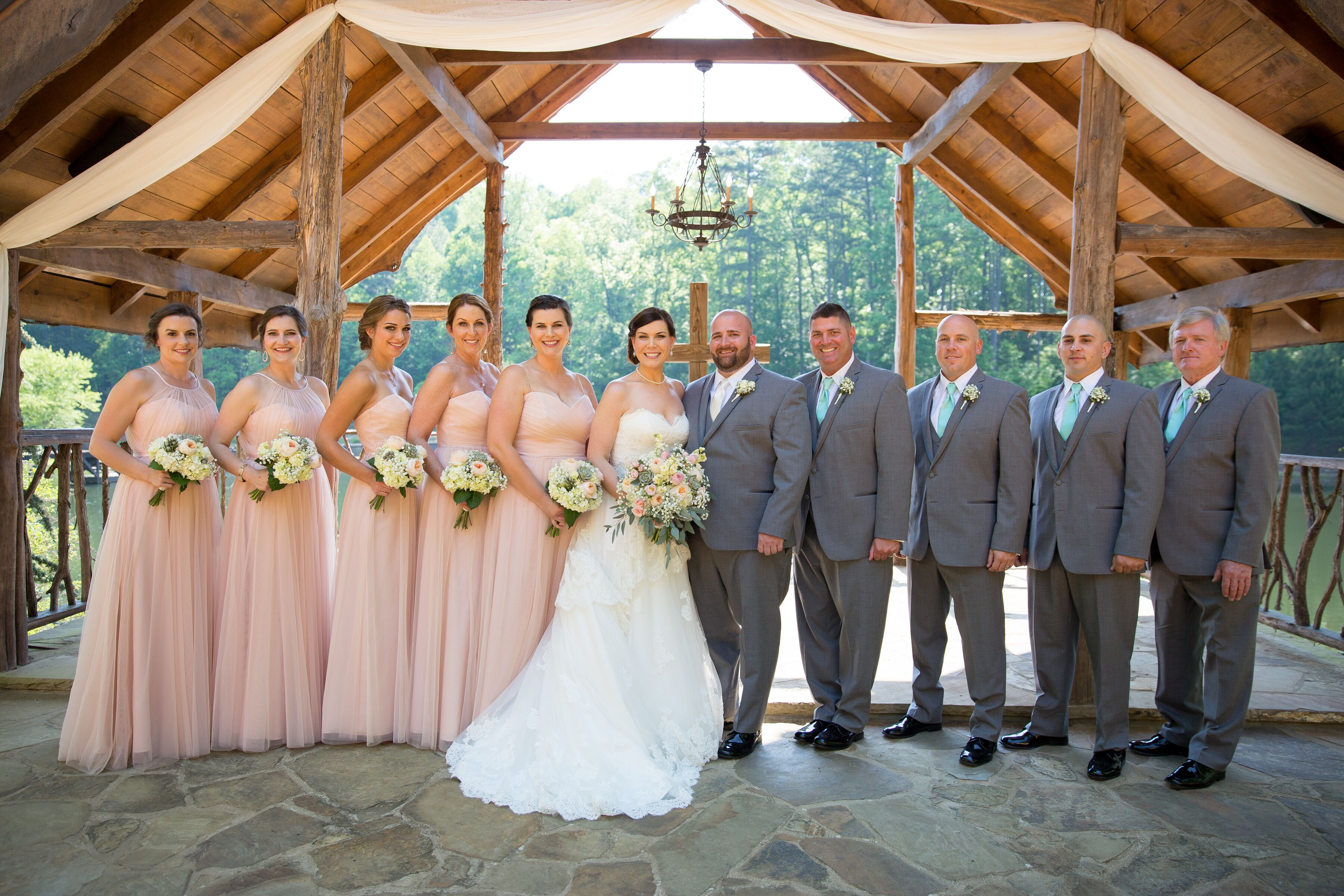 Soft Romantic Blush And Mint Wedding Party
