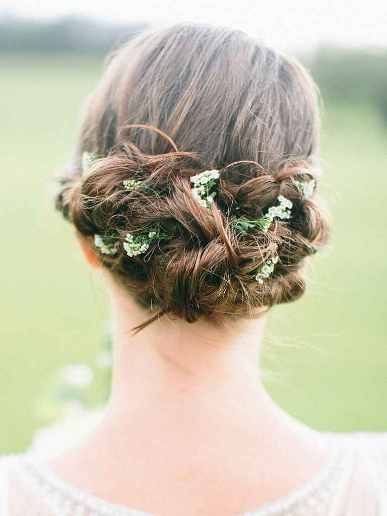 Messy updo hairstyle idea for brides or bridesmaids