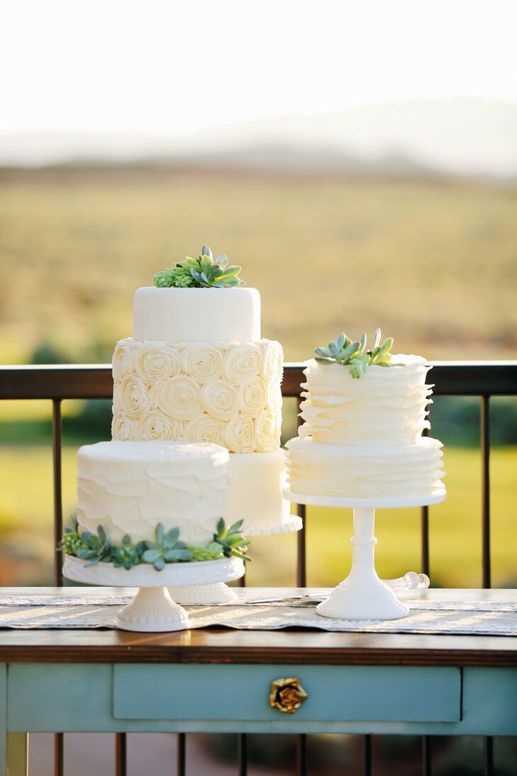 Fondant Wedding Cakes with Succulent Toppers