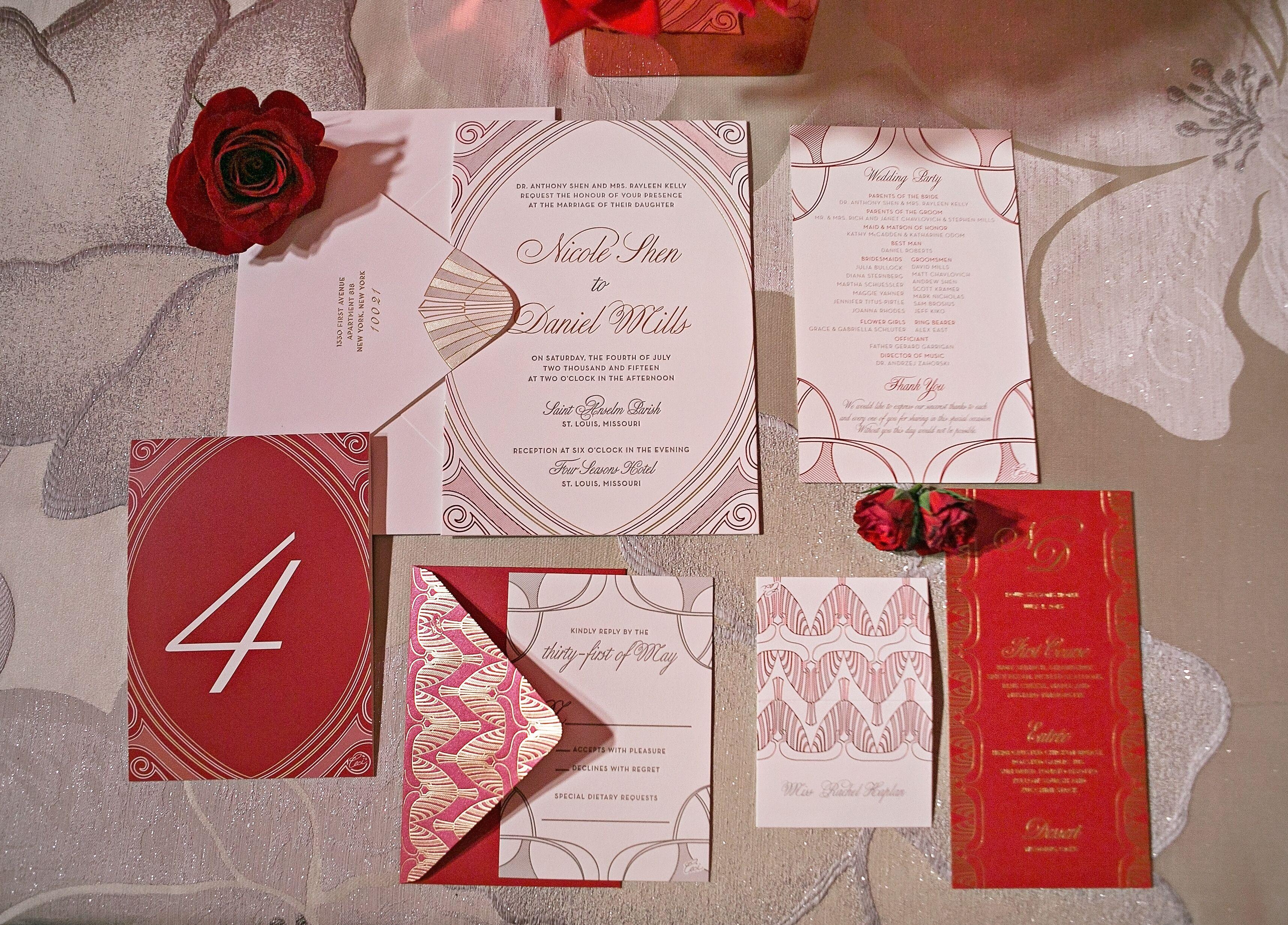 Red and White Art Deco Invites