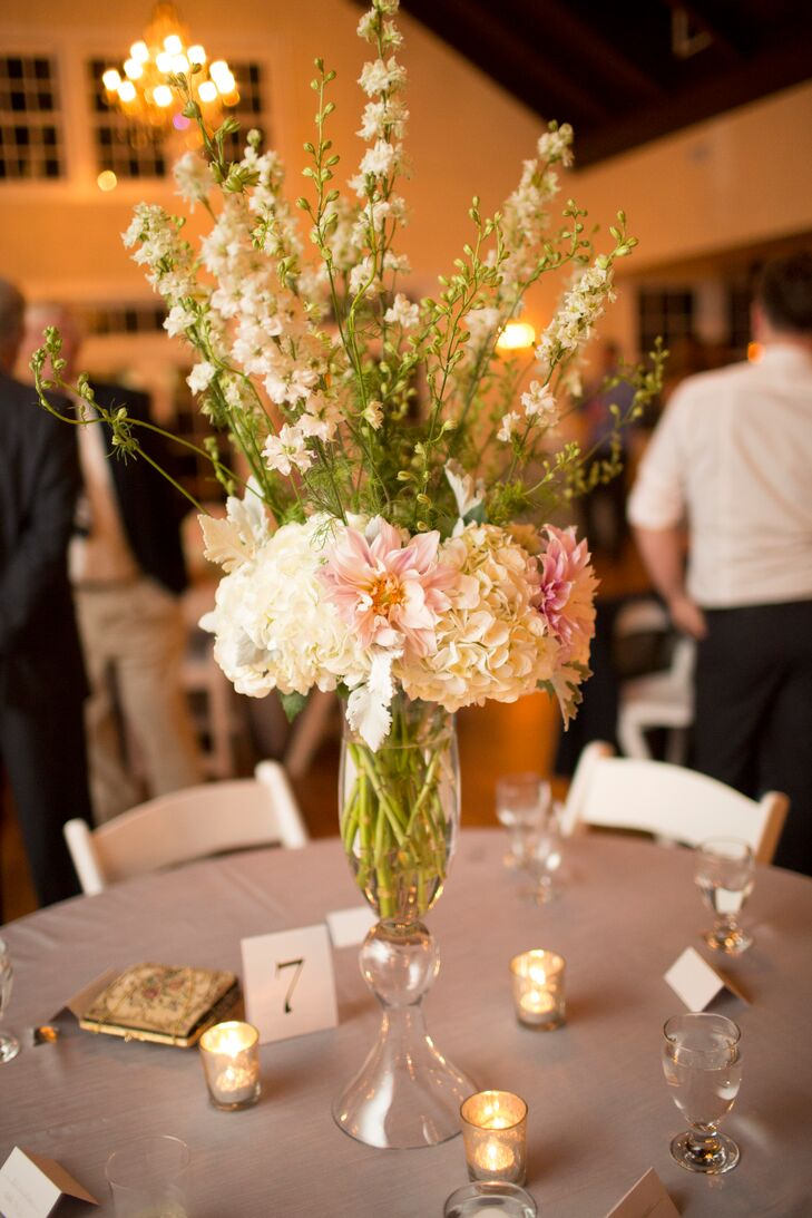 Centerpieces With Dahlias Hydrangeas And Delphiniums