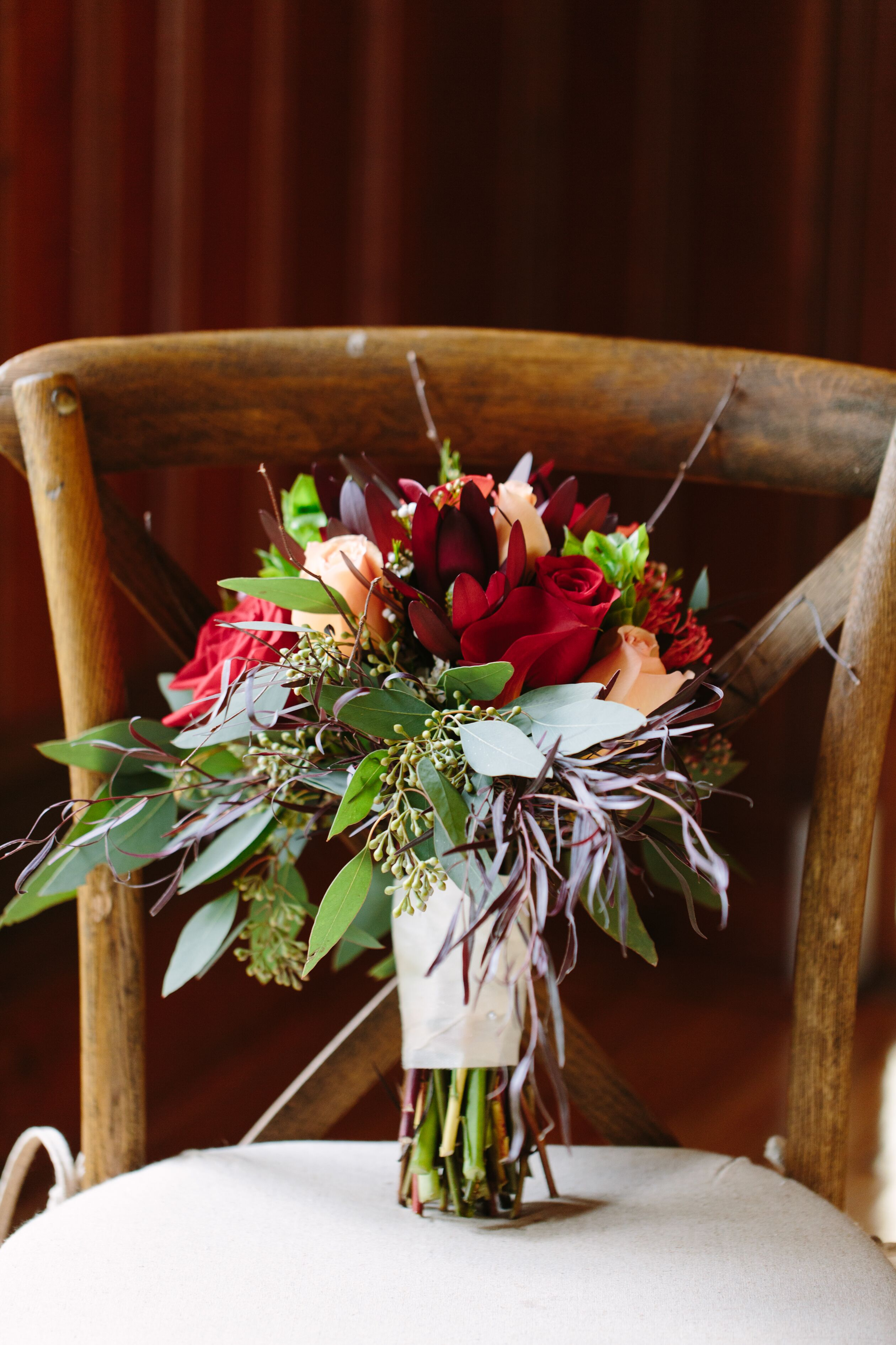 Burgundy Bouquet With Calla Lilies And Eucalyptus