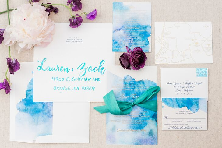 Blue and Purple Watercolor Wedding Invitations