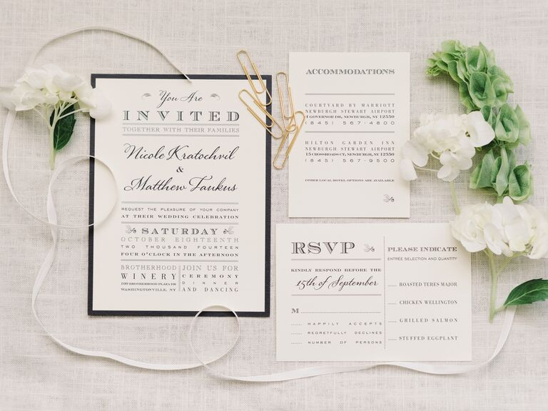 Elegant black and white invitation suite