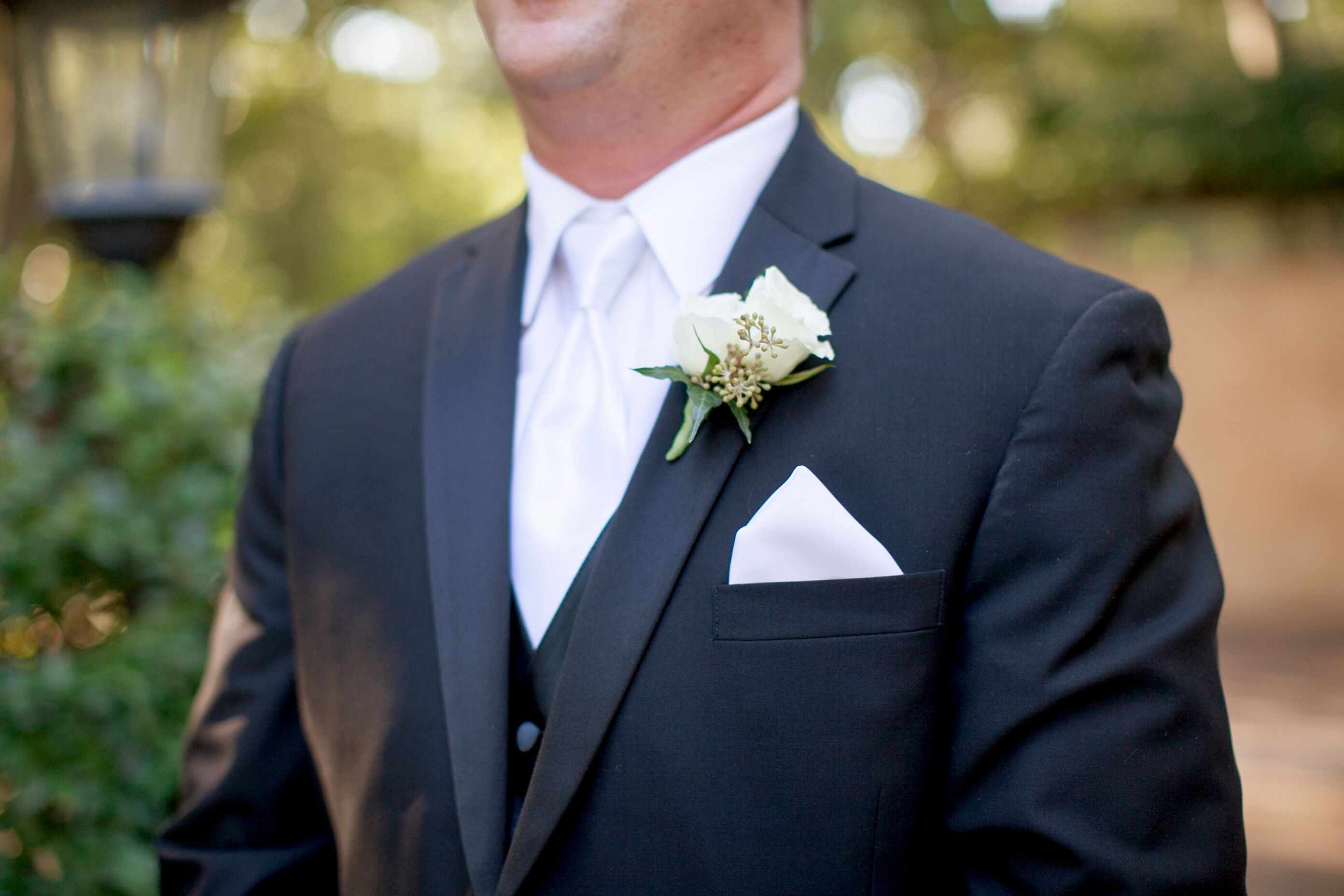 White Rose Boutonniere And Pocket Square