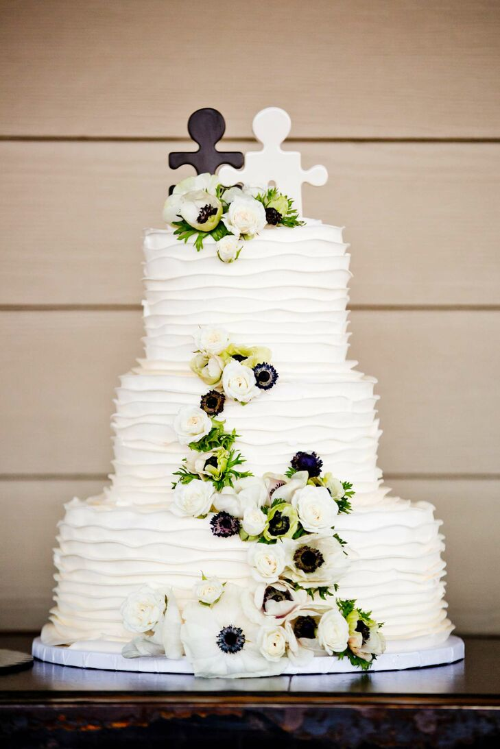 Black And White Puzzle Piece Wedding Cake Topper