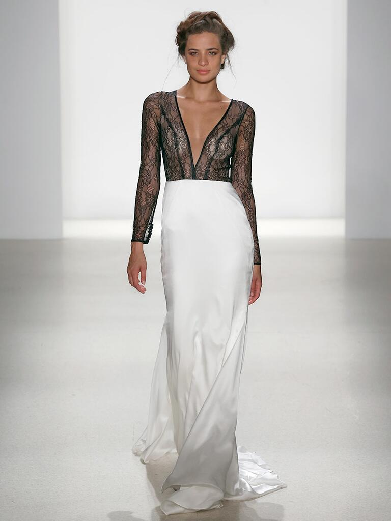 sheer black lace top wedding dress with white silk skirt