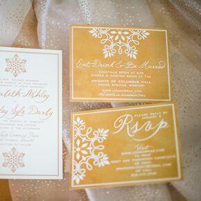 Winter wedding invitations gold and white snowflake adorned wedding invitations junglespirit Gallery
