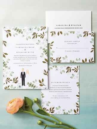 Color Me Carla garden themed wedding invitations