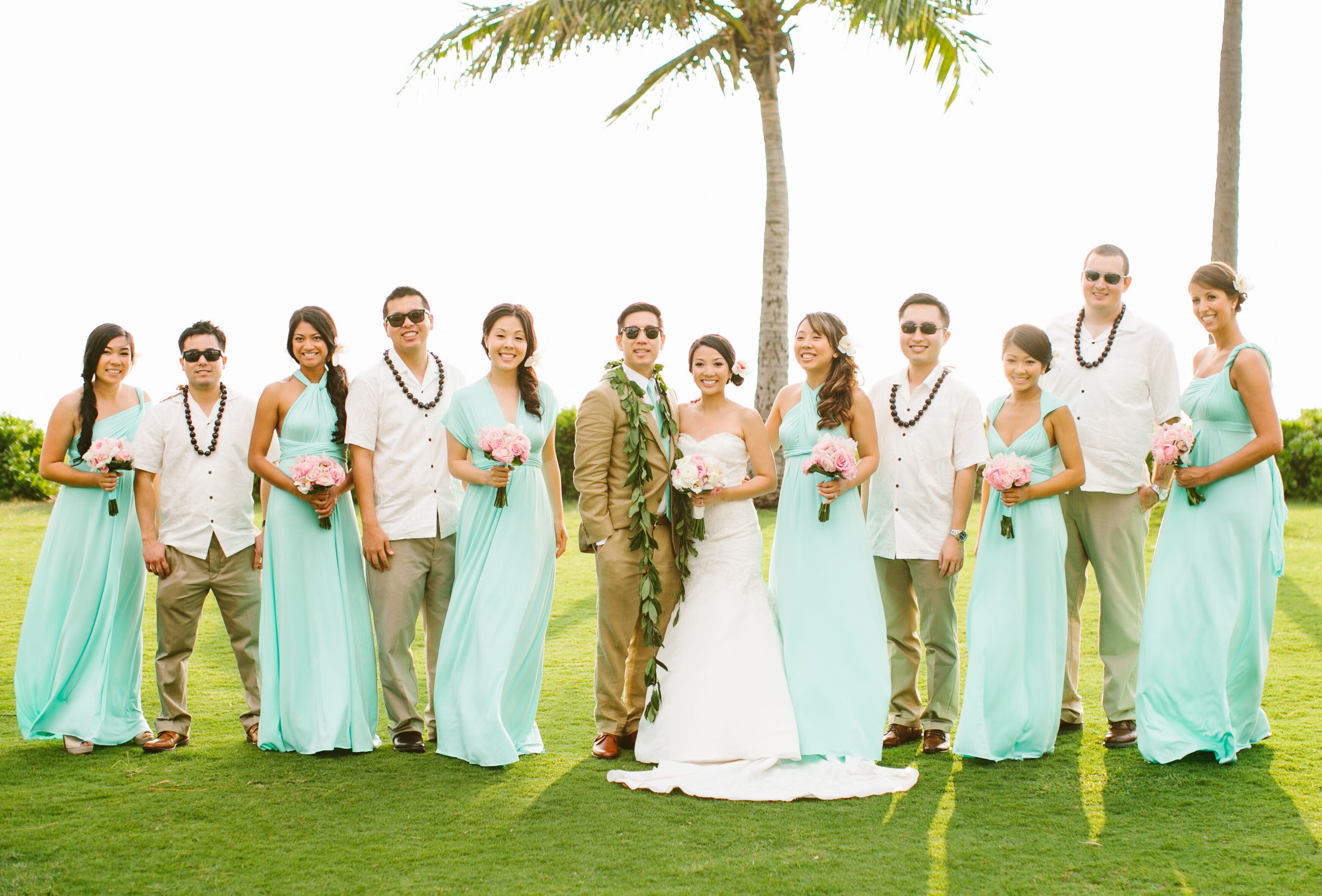 Traditional Hawaiian Wedding Gifts: Green And Tan Wedding Party