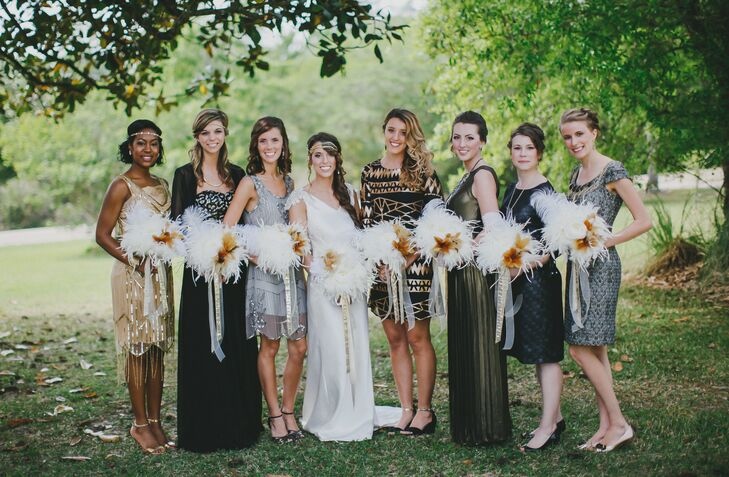 1920s Themed Bridesmaid Dresses With Vintage White Feather Plume Bouquets