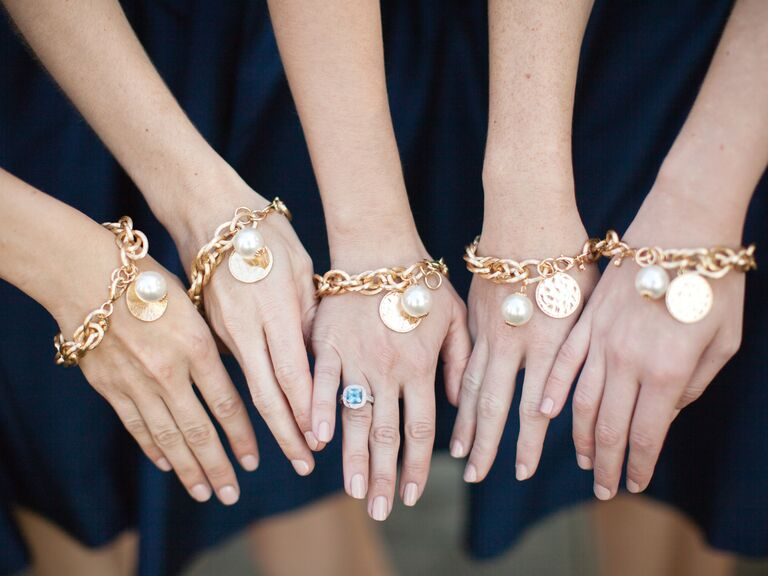 Wedding Gift Bag Etiquette : Monogrammed gold and pearl bridesmaid bracelet gifts
