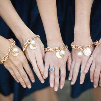 Monogrammed gold and pearl bridesmaid bracelet gifts