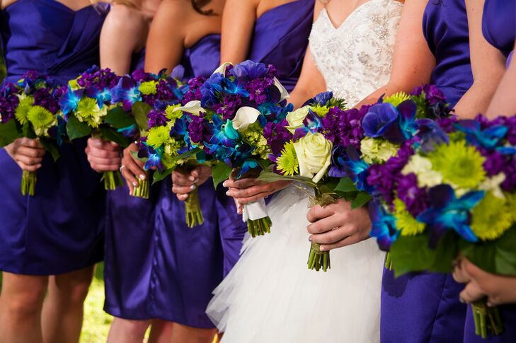 Secret Garden: Peacock-Colored Bouquets With Tie-Dye Orchids